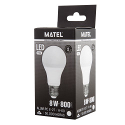 BOMB. LED ESTANDAR E27 8W FRIA